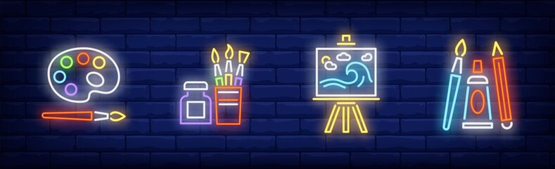 School of art neon sign set Wall mural