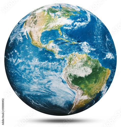 Wall mural Planet Earth globe isolated