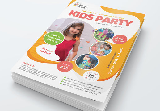 Kids Party Flyer Layout with Colorful Elements