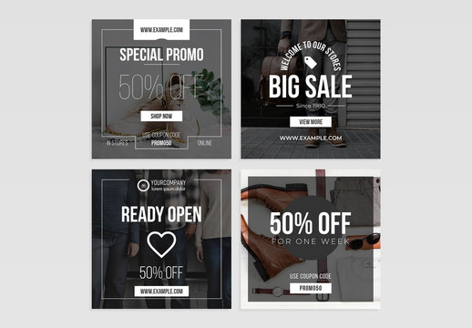 Black and White Sale Social Media Post Layout Set