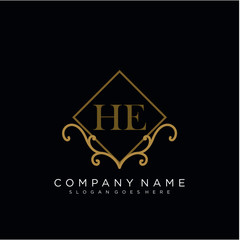 Initial letter HE logo luxury vector mark, gold color elegant classical