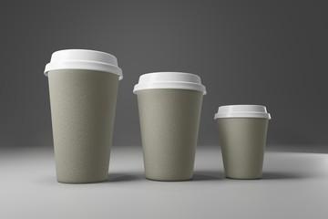 Paper coffee cup mock-up. Render realistic 3d illustration. Package mockup design for branding.