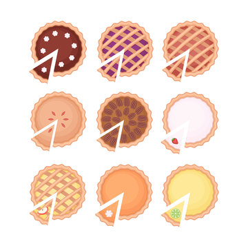 Homemade pieand pie slice set with different fruit filling. Flat vector illustration isolated on white background.