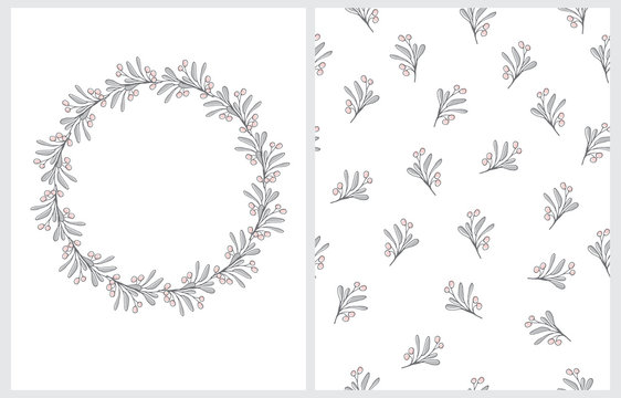 Round Shape Floral Wreath on a White Background. Infantile Style Hand Drawn Branches with Pink Berries with Gray Twigs. Floral Illustration and Seamless Vector Print for Card, Invitation, Greeting.