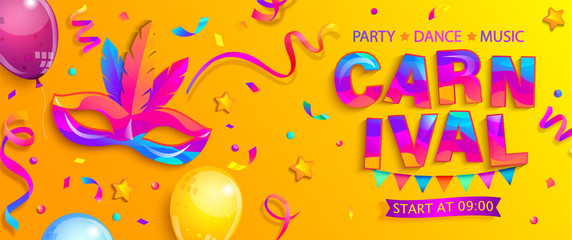 Banner for fun carnival party.Traditional mask with feathers,confetti and balloons for carnaval,mardi gras, fesival,masquerade,parade.Template for design invitation,flyer poster,banners. Vector.