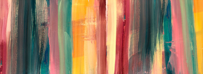 Oil Painting colorful texture. Abstract  Fragment of artwork on canvas . Spots of oil paint. Brushstrokes of paint. Modern art. Colorful background. Burnt orange Yellow, Pink, Pine green, Red. Rainbow