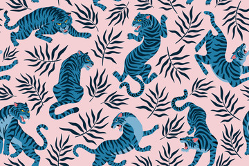 Tigers and tropical leaves. Trendy illustration. Abstract contemporary seamless pattern. Fotomurales