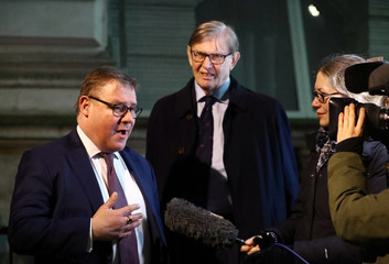 Britain's Conservative Party MPs Mark Francois and Bill Cash talk to the media outside Downing Street in London