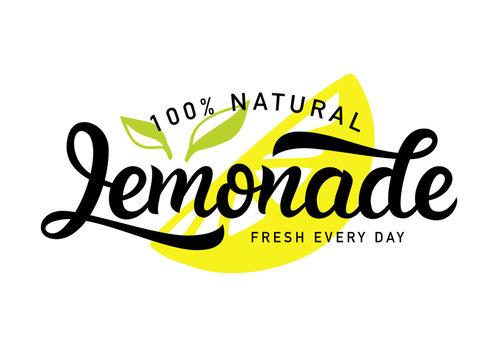 Lemonade vector logo badge. Fresh drink calligraphy logotype