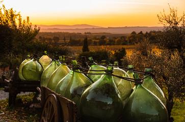 Glass barrel in a Chianti landscape