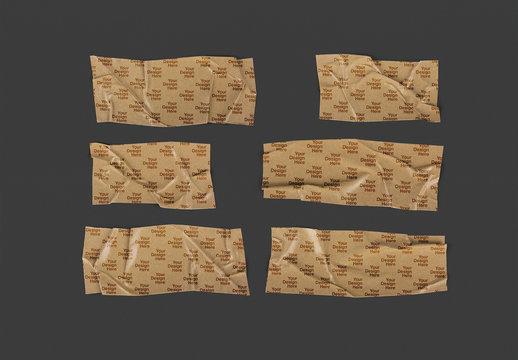Brown Kraft Paper Strip Tape Adhesive Mockup