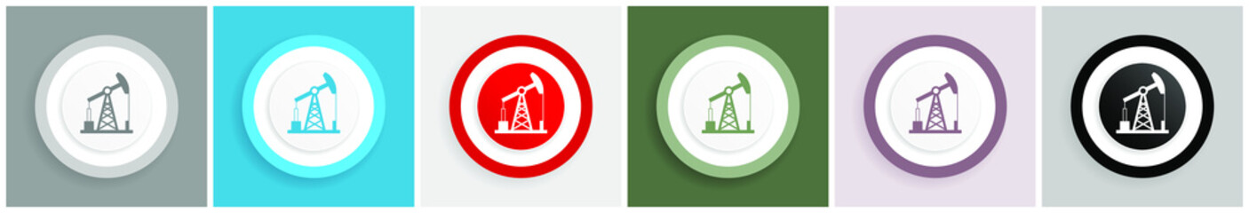 Industrial icon, oil pump vector illustrations in 6 colors options for web design and mobile applications in eps 10