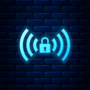 Glowing neon Wifi locked sign icon isolated on brick wall background. Password Wi-fi symbol. Wireless Network icon. Wifi zone. Vector Illustration