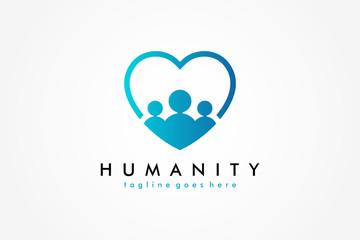 Social Humanity People Logo. Flat Vector Logo Design Template Element