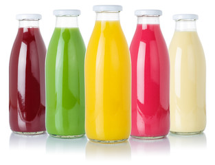 Photo sur cadre textile Jus, Sirop Fruit juice smoothies fruits orange drinks collection bottles isolated on white