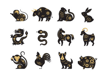 Chinese new year, zodiac signs, papercut icons and symbols. Vector illustrations
