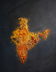 Map of India made out of spices