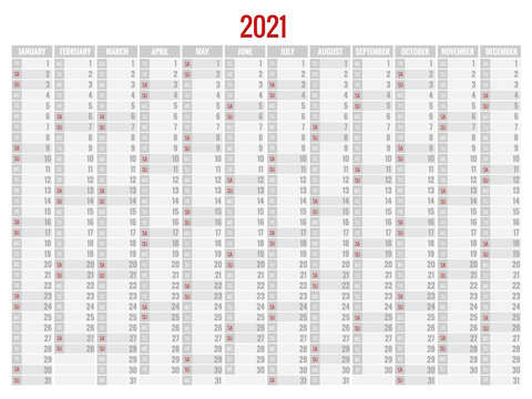 2021 Calendar, Business planner. Print Template with Place for Photo, Your Logo and Text. Week Starts Sunday. Portrait Orientation. Set of 12 Months. Planner for 2021 Year.