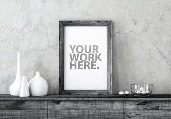 Black Wooden Frame Poster Mockup on Cabinet