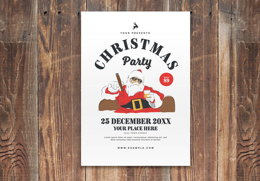 Christmas Party Event Flyer Layout with Funny Santa Illustration