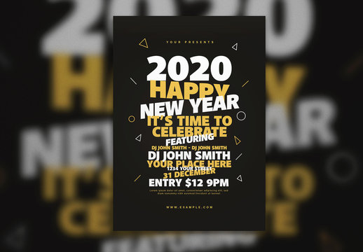 Black New Year'S Event Flyer Layout with Yellow and White Text