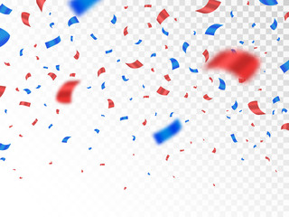 Red and blue confetti isolated on transparent background. Anniversary decoration elements. Falling color confetti. Realistic defocused serpentine. Vector illustration