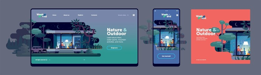 Flat vector illustration - in the evening, a couple sitting under the floor lamp in the house, outside the window of nature and trees. Mockup of the web page, mobile phone screen template, poster Fotomurales