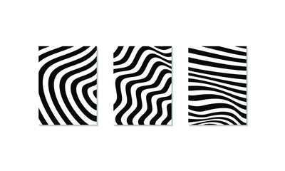 Abstract optical art background. Black and white wave stripes isolated. Vector illustration