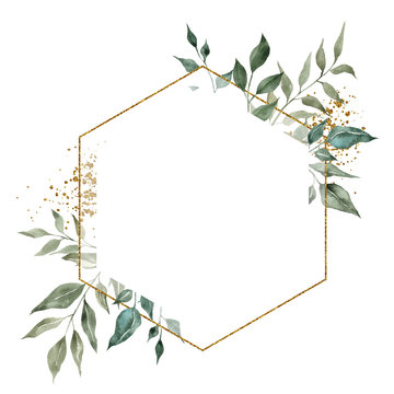 Geometry golden frames with watercolor hand draw branches of green leaves and succulents, isolated on white background