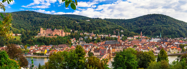 Best places and towns of Germany - beautiful historic Heidelberg. Panorama of old town with castle