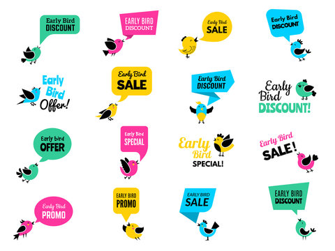 Early birds badges. Advertizing discount labels special business offers vector birds set. Illustration early bird discount offer, business promotion