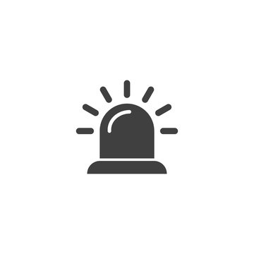 Alarm siren icon in black color on a white background