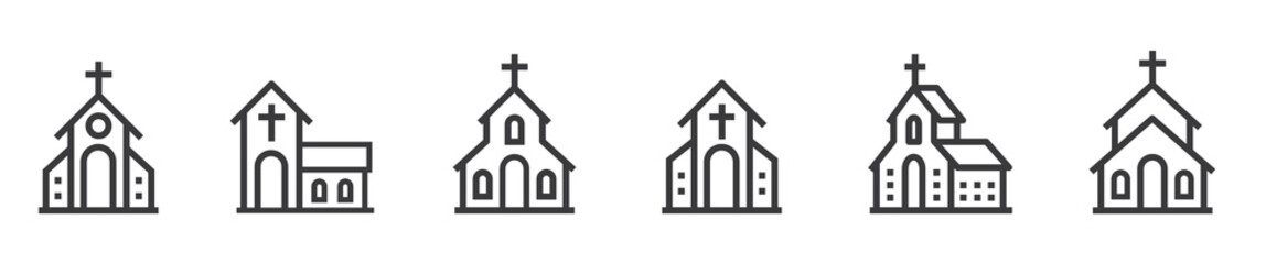 Church bulding line icon set. Icons of christian religion. Flat style - stock vector. Fotomurales