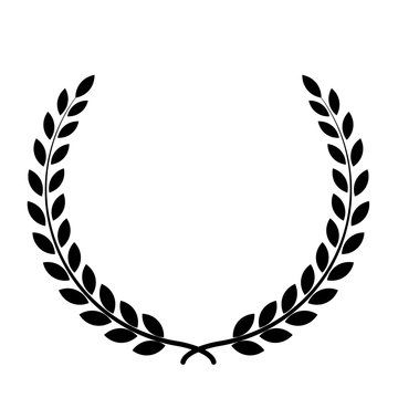 Black silhouette circular laurel foliate, wheat and oak wreaths depicting an award, achievement, heraldry, nobility on white background. Emblem floral greek branch flat style - stock vector.