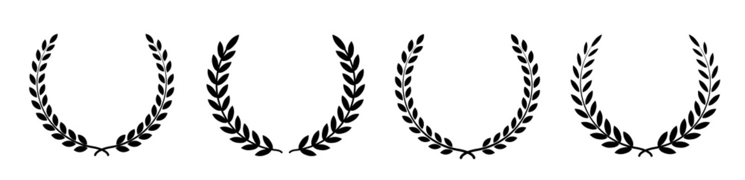 Set black silhouette circular laurel foliate, wheat and oak wreaths depicting an award, achievement, heraldry, nobility on white background. Emblem floral greek branch flat style - stock vector.