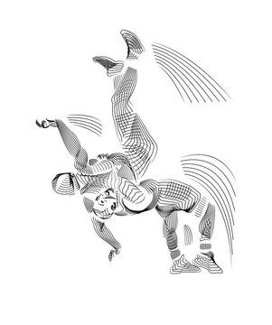 freestyle wrestler throw, silhouette