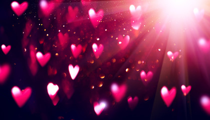 Valentine's Day purple Background. Holiday Blinking Abstract Valentine Backdrop with Glowing...