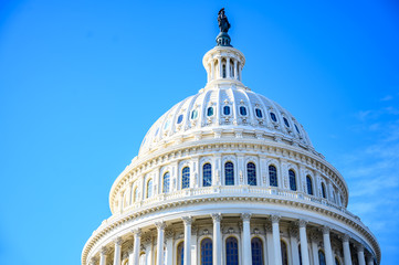 East side of the US Capital dome with blue sky background Wall mural