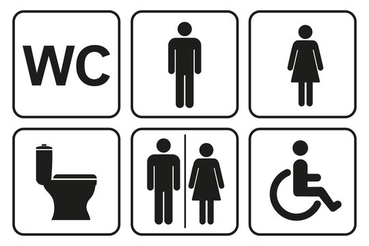Toilet icons set, toilet signs, WC signs – stock vector