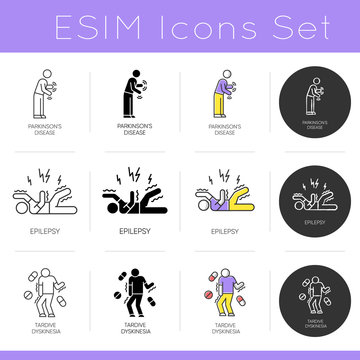 Mental disorder icons set. Parkinson disease. Epileptic stroke and seizure. Tardive dyskinesia. Psychology and neurology. Flat design, linear, black and color styles. Isolated vector illustrations