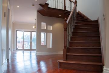 Private house Interior entrance, living room and staircase
