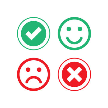 Checkmark and cross symbol. Positive and negative result. Good and bad emotions. Vector EPS 10