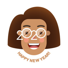 Cheerful smiling African girl with curvy hairstyle in glasses - a symbol of the upcoming 2020. Happy new year!