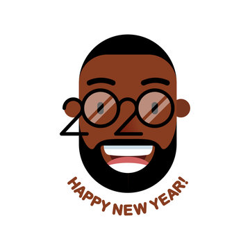 Cheerful smiling bearded African man with glasses - a symbol of the upcoming 2020. Happy new year!