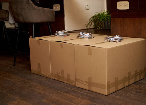 large cardboard boxes with bows