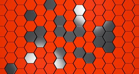 Wall Mural - orange and metal 3d hexagons background, 3d render