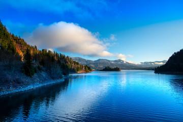 Poster Blauw Landscape in Colibita, Romania