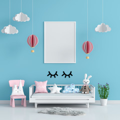 Blank photo frame for mockup in blue child room, 3D rendering