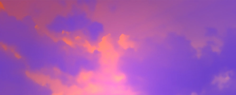 Contemporary Abstract Gradient Sky Background. Vivid Colored Realistic Vector Clouds