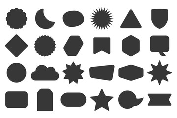 Black silhouette and isolated random shapes empty sticker labels icons set on white background